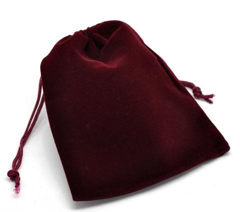 Подарочный бархатный бордовый мешочек для кулонов и колец 7х9 см UP-3