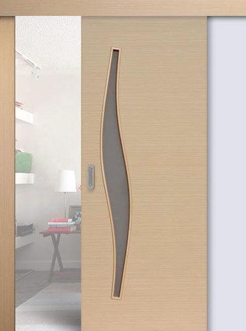 Дверь раздвижная Сибирь Профиль Волна (С-10), цвет беленый дуб, остекленная
