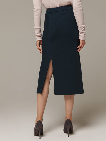 Женская темно-зеленая юбка с разрезами из шерсти и кашемира - фото 2
