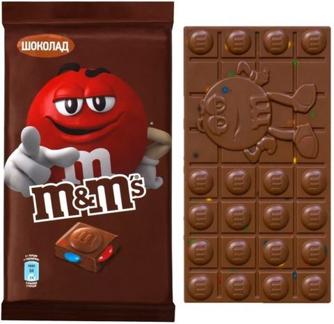 """Шоколад  """"M&M's"""" молочный с разноцветным драже 125г"""