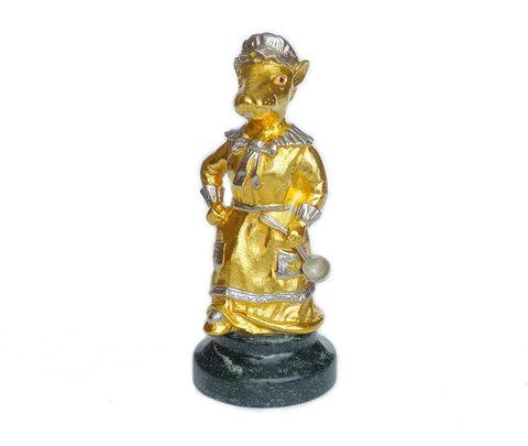 Подарочная статуэтка «Мышь - домохозяйка» позолоченная 12см
