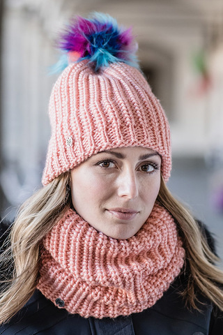 Шапка вязаная с флисом Buff Hat Knitted Polar Dania Peach