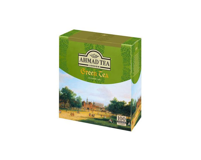 Чай зеленый в пакетиках Ahmad Green Tea, 100 пак/уп (Ахмад)