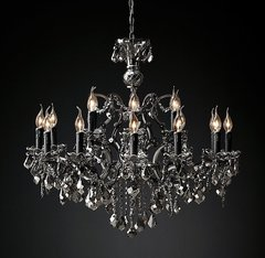 19th C. Rococo Iron & Smoke Crystal Round Chandelier 32