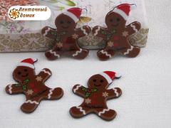 Пластиковый декор Пряничный Санта на черном фоне