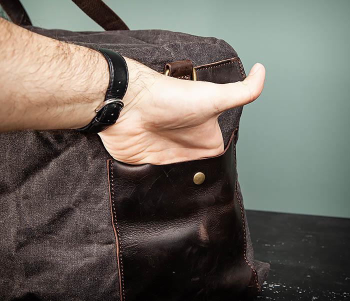 BAG499-1 Мужская дорожная сумка из ткани с ремнем фото 07