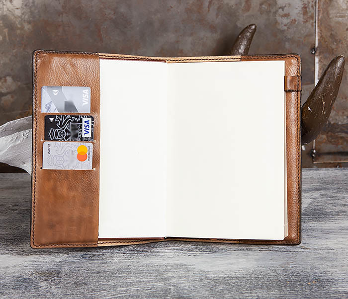 BC195 Кожаный ежедневник с изображением льва, ручная работа (A5) фото 10