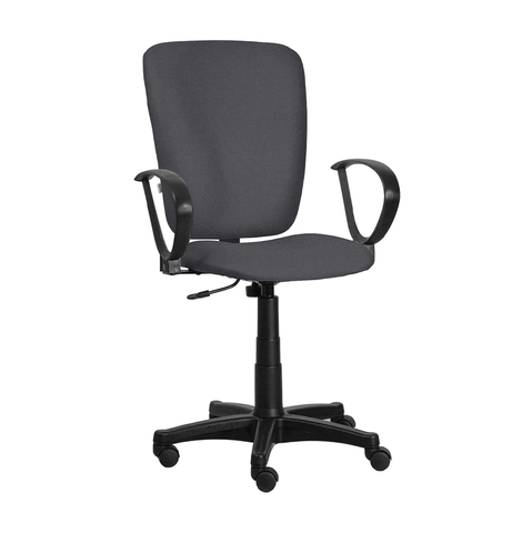 Кресло Меридия на роликах с подлокотниками и пластиковой крестовиной в ткани серого цвета, арт. 454957-01/C38*, производитель БЕЛС (РБ)