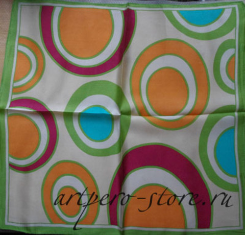 Квадратный платок, атлас (100% шёлк)(круги 1)