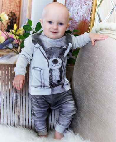 Папитто. Комплект кофточка с мишкой и штанишки для мальчика FASHION JEANS