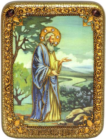 Инкрустированная икона Святой праотец Адам 20х15см на натуральном дереве, в подарочной коробке