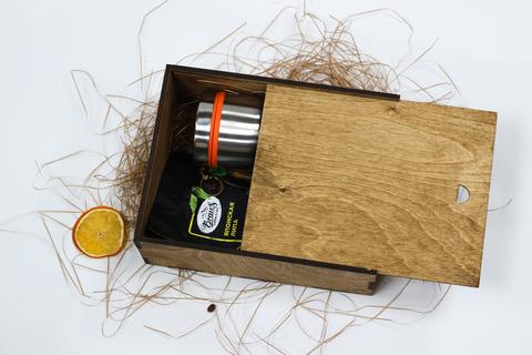Набор чай с термокружкой №1 в деревянном коробе