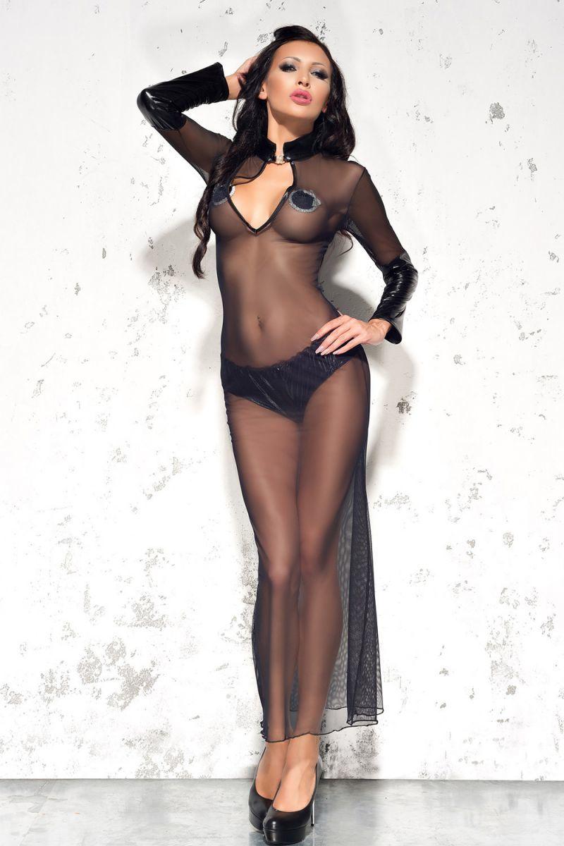 БОЛЬШИЕ размеры: Полупрозрачное длинное платье Sarah с воротником-стойкой