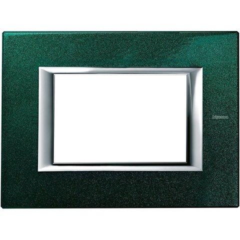 Рамка 1 пост, прямоугольная форма. ЛАКИРОВАННЫЕ. Цвет Малахит. Итальянский стандарт, 3 модуля. Bticino AXOLUTE. HA4803VS