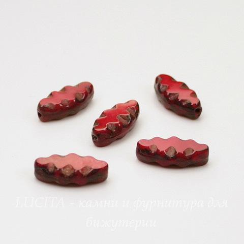 """Бусина """"Резная """"navette"""" (цвет - ярко-красный) 12х6 мм , 5 штук"""