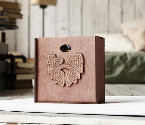 Коробка для подарков из дерева с логотипом «Борода» (17*17*7 см)