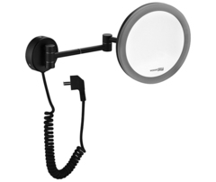 Косметическое зеркало WasserKRAFT NEW K-1004BLACK с LED-подсветкой, с 3-х кратным увеличением