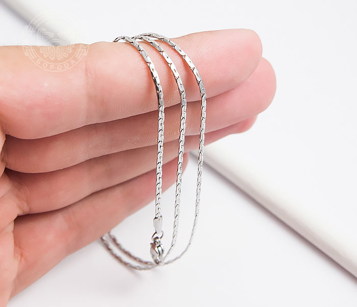 SSNH-0185 Стильная стальная цепочка «Spikes»плоского сечения (55 см) фото 06