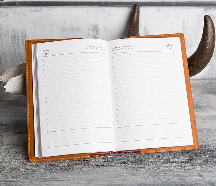 BY05-10-01 Ежедневник «Планы и Начинания» в обложке из натуральной кожи (А5) фото 06