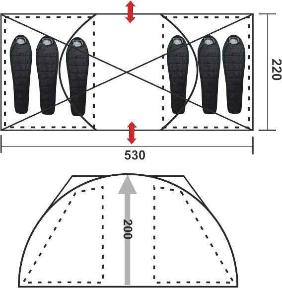 Большая шестиместная палатка Helios Bora-6