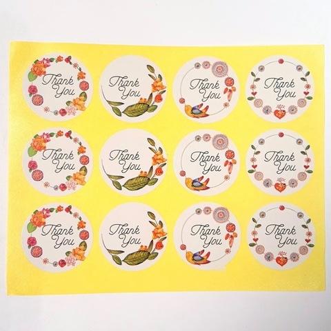 Наклейка Thank You круглая 12 шт арт. sticker-09