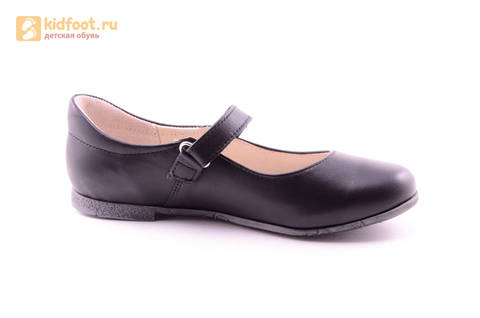 Туфли для девочек из натуральной кожи на липучке Лель (LEL), цвет черный. Изображение 2 из 18.