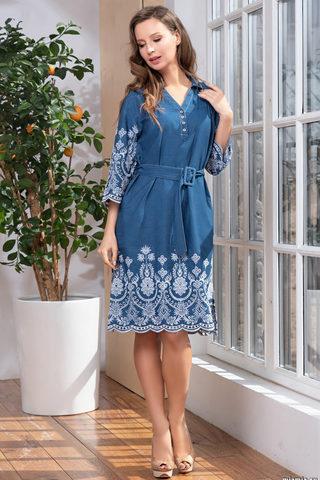 Элегантное платье синее с вышивкой