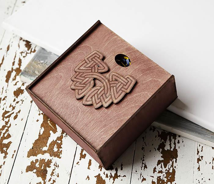 BOX218-3 Коробка для подарков из дерева с логотипом «Борода» (17*17*7 см) фото 03