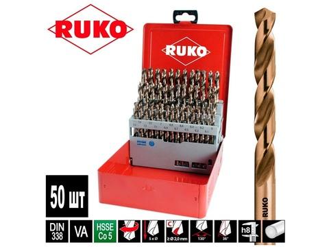 Набор сверл по металлу Ruko DIN338 h8 HSSE-Co5 50шт 1-5.9мм 215217