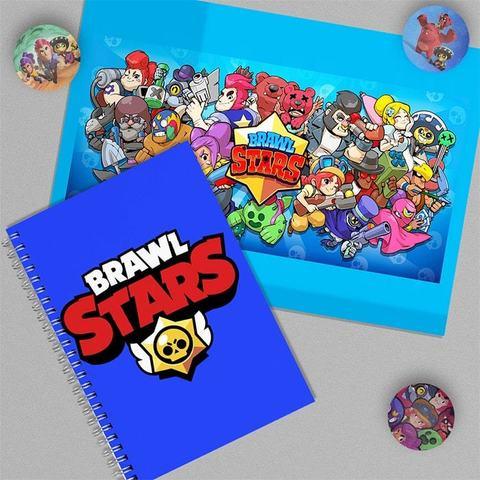 Бравл Старс: набор из тетради, плаката А4 и 3 значков