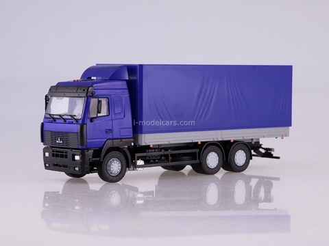 MAZ-6312 flatbed with awning blue-gray 1:43 AutoHistory