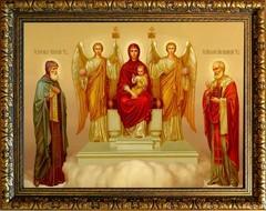 Пресвятая Богородица на троне с предстоящими Святыми. Икона на холсте.