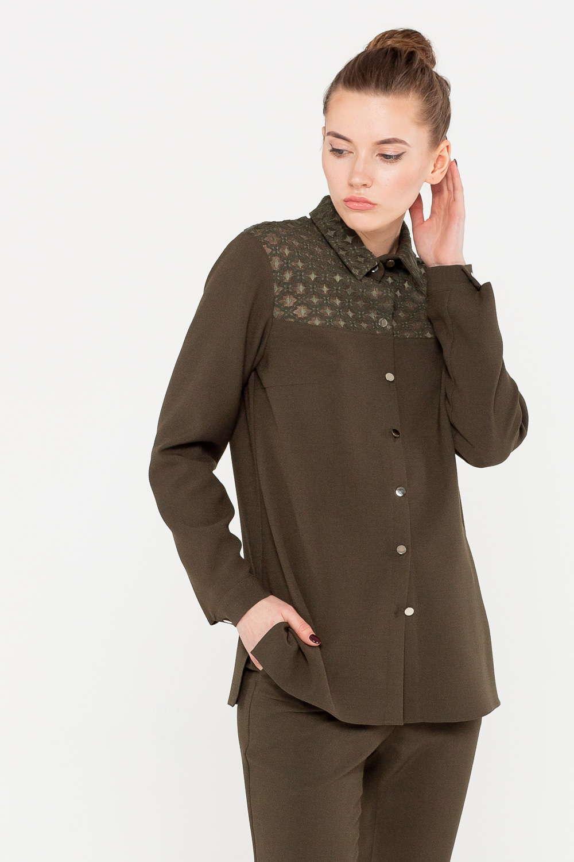 Блуза Г680-528 - Блуза с декоративными вставками из теплого материала обеспечит вас уютом даже в холодные дни. Теплый шоколадный цвет выгодно подчеркивает славянскую внешность. Модель свободного кроя с длиной до бедра скрывает возможные несовершенства фигуры. Блузку можно заправить в брюки, чем выгодно подчеркнуть линию талии или носить навыпуск.