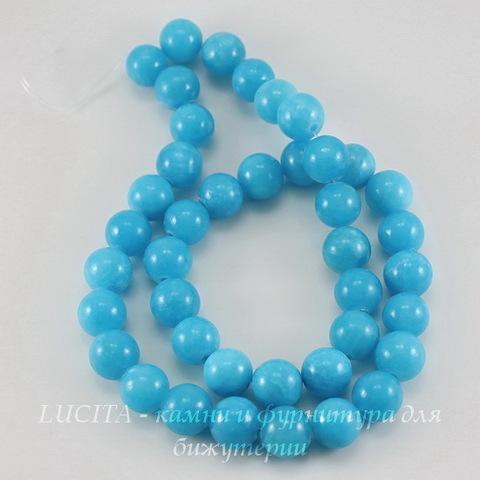 """Бусина Жадеит (тониров), шарик, """"Голубая лагуна"""", 10 мм, нить"""