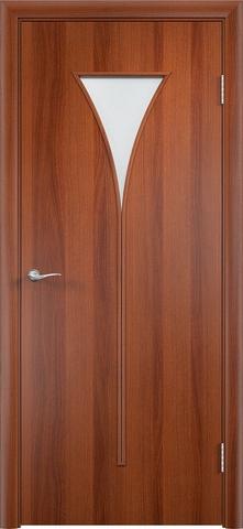 Дверь Сибирь Профиль Рюмка (С-4), цвет итальянский орех, остекленная