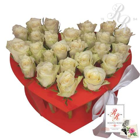 25 белых роз в пробирке (сердце)