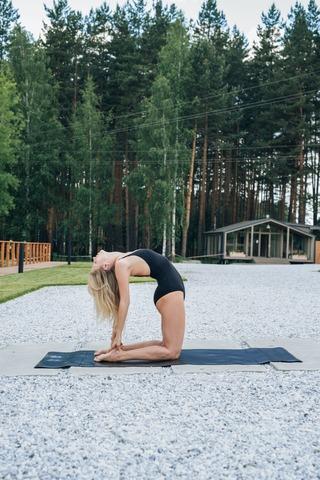 Каучуковый йога коврик YC Black c разметкой 185*68*4,5см