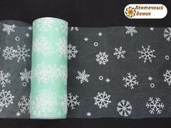 Фатин со снежинками мятный ширина 15 см