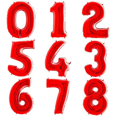 Летающие Цифры с Гелием Красные