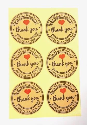 Наклейка Thank You круглая 6 шт арт. sticker-08