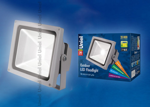 ULF-S01-30W/DW IP65 110-240В Прожектор светодиодный. Корпус серый. Цвет свечения дневной. Степень защиты IP65. Картонная упаковка