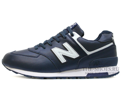Кроссовки Мужские New Balance 574 Navy White Leather Winter Edition С Мехом