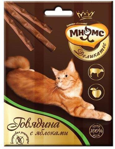 Мнямс Деликатес лакомые палочки для кошек с говядиной и яблоком