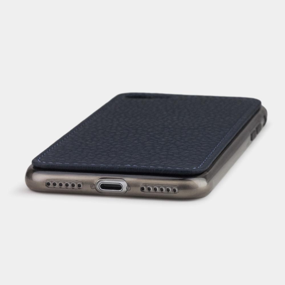 Чехол-накладка для iPhone 8 из натуральной кожи теленка, цвета синий мат