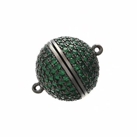 Замочек магнитный круглый c зелеными цирконами 12 мм цвет черный