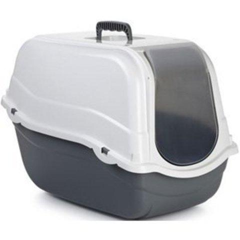 Beeztees Romeo Туалет-домик д/кошек серо-белый 57*39*41см