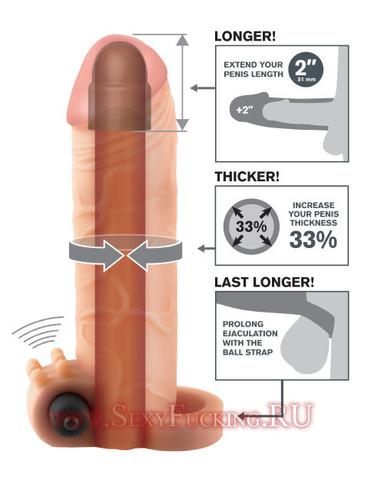 Удлиняющая насадка на пенис X-tensions Vibrating Real Feel 2 (4,5 х 16,5 см)