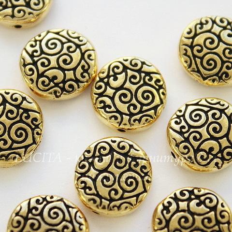 """Бусина круглая плоская TierraCast """"Завитки"""" 12х3,5 мм (цвет-античное золото)"""