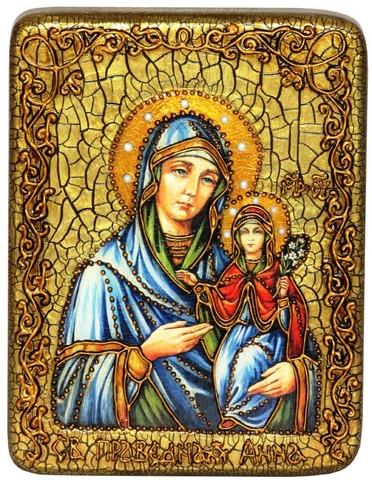Инкрустированная икона Святая праведная Анна, мать Пресвятой Богородицы 20х15см на натуральном дереве в подарочной коробке