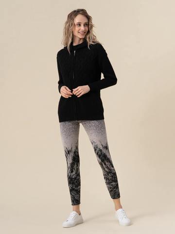 Женский джемпер черного цвета на молнии из 100% кашемира - фото 3